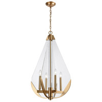 Vapor Cone 4 Light 19 inch Aged Brass Chandelier Ceiling Light
