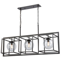 Dimond Lighting 1141-075 Beam Cage 3 Light 48 inch Oil Rubbed Bronze Finish/Clear Glass Chandelier Ceiling Light