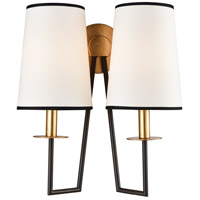 On Strand 2 Light 14 inch Oiled Bronze with Gold Leaf Wall Sconce Wall Light