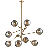 Dimond Lighting 1141-082 Accelerated Returns 8 Light 34 inch Aged Brass/Plated Smoke Glass Chandelier Ceiling Light
