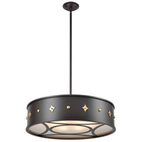 Roman 6 Light 25 inch Oil Rubbed Bronze with Antique Brass Pendant Ceiling Light