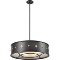 Dimond Lighting 1141-101 Roman 6 Light 25 inch Oil Rubbed Bronze with Antique Brass Pendant Ceiling Light