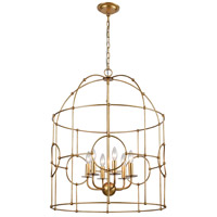 Hollow Bamboo 6 Light 25 inch Antique Gold Leaf Pendant Ceiling Light