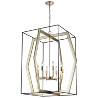 Mixed Geometries 8 Light 32 inch Oil Rubbed Bronze with Antique Silver Leaf Pendant Ceiling Light