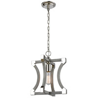Dimond Lighting 1141-104 Mies 1 Light 12 inch Gray with Polished Nickel Pendant Ceiling Light, Small