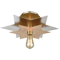 Stacked Stars 1 Light 19 inch Antique Gold Leaf with Silver Leaf Flush Mount Ceiling Light