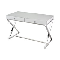 Lazy Susan by Dimond Signature Desk in White and Chrome 1141105