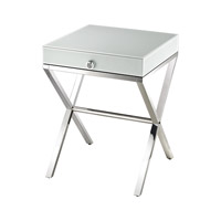 Lazy Susan by Dimond Signature Side Table in White and Chrome 1141106