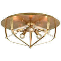Mercury 5 Light 20 inch Antique Gold Leaf and Polished Gold Flush Mount Ceiling Light