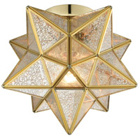Moravian Star 1 Light 10 inch Brass Flush Mount Ceiling Light