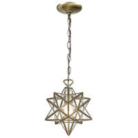 Moravian Star 1 Light 9 inch Antique Brass Mini Pendant Ceiling Light
