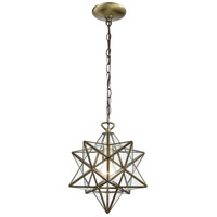 Moravian Star 1 Light 12 inch Antique Brass Mini Pendant Ceiling Light