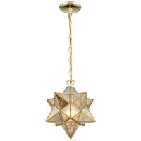 Moravian Star 1 Light 12 inch Brass Mini Pendant Ceiling Light