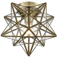 Moravian Star 1 Light 10 inch Antique Brass Flush Mount Ceiling Light