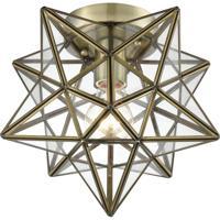 Dimond Lighting 1145-027 Moravian Star 1 Light 10 inch Antique Brass Flush Mount Ceiling Light