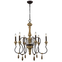 Salon de Provence 6 Light 29 inch Natural Woodtone,Aged Iron Chandelier Ceiling Light