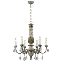 Genevive 6 Light 28 inch Aged Cream,Iron Chandelier Ceiling Light