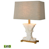 Cheviot Hills 21 inch 9.5 watt White Alabaster,Gold Leaf Table Lamp Portable Light in LED