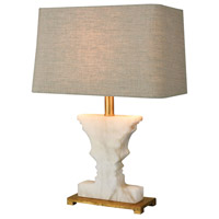 Cheviot Hills 21 inch 150 watt White Alabaster,Gold Leaf Table Lamp Portable Light in Incandescent