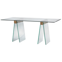 Dimond Lighting Frankfurt Desk in Clear Glass,Wood Veneer 1203-004