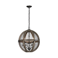 Lazy Susan by Dimond Lighting Renaissance Invention 3 Light Pendant in Aged Wood and Bronze and Clear Crystal Wood and Wire 140-007