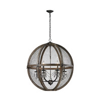 Renaissance Invention 6 Light 30 inch Aged Wood and Bronze and Clear Crystal Pendant Ceiling Light