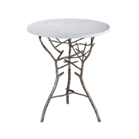 Lazy Susan by Dimond Signature Thicket Table in Silver Leaf With Antique and White Marble 1481005