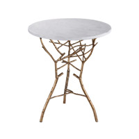 Lazy Susan by Dimond Signature Table in Silver Leaf With Antique and White Marble 1481006