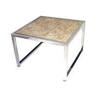 Signature 24 X 24 inch Natural and Stainless Steel Coffee Table Home Decor