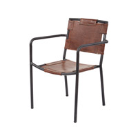 Lazy Susan by Dimond Lighting Industrial Chair in Tobacco and Black Iron Cow Leather and Iron 161-003