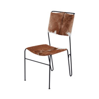 Goatskin Natural Hide and Iron Chair Home Decor