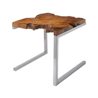Dimond Home Teak Slab Accent Table in Teak and Stainless Steel 162-003
