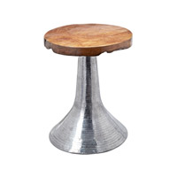 Dimond Home Hammered Accent Table in Natural Teak and Aluminum 162-005