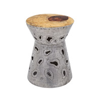 Amoeba 14 X 14 inch Natural Teak and Aluminum Accent Table Home Decor