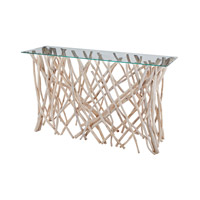 Lazy Susan by Dimond Lighting Teak Root Console Table in Natural Teak and Clear Glass 162-027