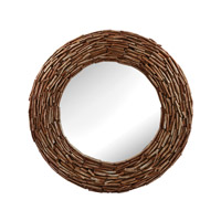 Dimond Home Round Twig Mirror in Silver Bark MDF and Wood and Glass 163-004
