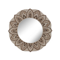 Dimond Home Round Shell Mirror in Natural MDF and Shell and Glass 163-025