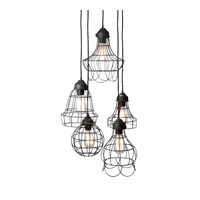 Wire 5 Light 6 inch Brown Pendant Ceiling Light