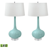 Del Mar 32 inch 9.5 watt Mint Table Lamp Portable Light, Set of 2