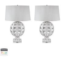 Dimond Lighting 274/S2-HUE-D Ceramic 28 inch 60 watt White Table Lamp Portable Light, Set of 2