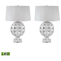 Open Work 28 inch 9.5 watt White Table Lamp Portable Light, Set of 2