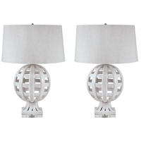 Dimond Lighting 274/S2 Open Work 28 inch 100 watt White Table Lamp Portable Light, Set of 2