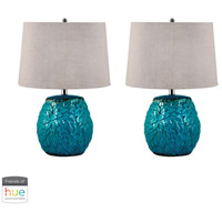 Dimond Lighting 275/S2-HUE-B Terra Cotta 25 inch 60 watt Aqua Table Lamp Portable Light, Set of 2