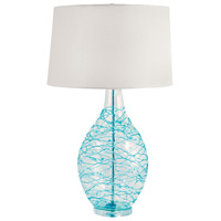 Signature 31 inch 100 watt Clear and Blue Table Lamp Portable Light