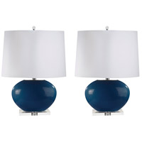 Signature 27 inch 100 watt Royal Blue Table Lamp Portable Light, Set of 2