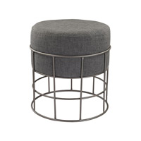 Lazy Susan by Dimond Lighting Pewter and Grey Linen Stool 3200-010