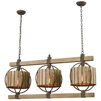 Dimond Lighting 3215-014 Triple Barrel LED Wood Tone with Rust Chandelier Ceiling Light