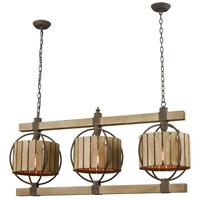 Dimond Lighting 3215-014 Triple Barrel LED Wood Tone with Rust Chandelier Ceiling Light