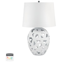 Dimond Lighting 324W-HUE-B Ceramic 26 inch 60 watt White Table Lamp Portable Light