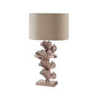 Ginkgo Leaf 27 inch 100 watt Rose Gold Table Lamp Portable Light in Incandescent